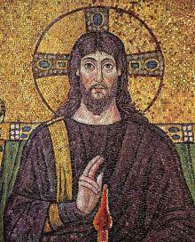 Imagen de Cristo en un mosaico de la Basílica de San Apolinar el Nuevo, c. 526 d.C. (Rávena, Italia).