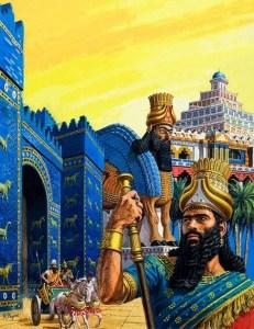 Nabucodonosor II junto a la puerta de Ishtar. Fuente: (http://historiamundo.com/el-rey-neo-babilonio-nabucodonosor-ii/)