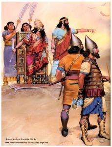 El rey Senaquerib durante el asedio de Laquis, 701 a.C. durante la campaña de conquista de Judea. Fuente: (http://anabasis-historica.blogspot.com.es/2012/10/el-asesinato-de-senaquerib-681-ac.html)